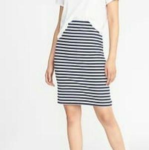 NWOT Black and White Striped Ponte Skirt